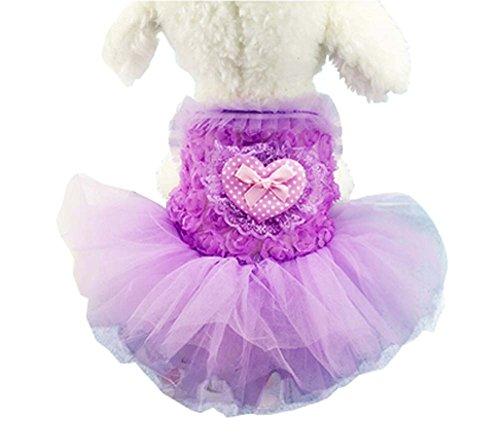 Elégante robe de princesse Animaux Vêtements Chiens Vêtements Purple Heart, XS