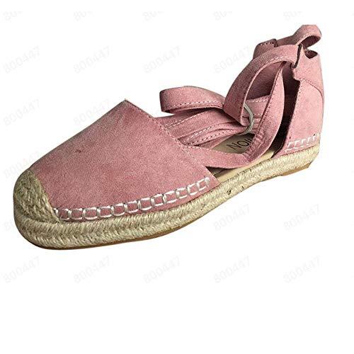 VJGOAL Sandalias Mujer Punta Redonda con Cordones Alpargatas Zapatos Planos Vendaje Cubierta Talón Roma Sandalias