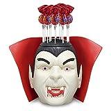 Cerdán, Pack Halloween cabeza Drácula con luz con 50 mega chupas Drácula rellenos de chicle con moño y sabor cereza. Bolsa con 50 unidades de 20,2 gr