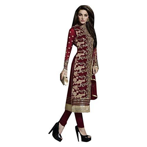 ETHNIC EMPORIUM Indische pakistanische Gerade Salwar Anzug Hochzet Damen Kamiz Kameez Bollywood Kleid Mädchen Gerade Hosen Georgette Hochzeitskleid Herren Kleid Frauen 746