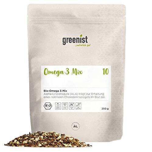greenist Bio Omega 3 Mix, optimale Mischung aus Premium Leinsamen, Chiasamen und Hanfsamen. 250g im ökologischen Beutel