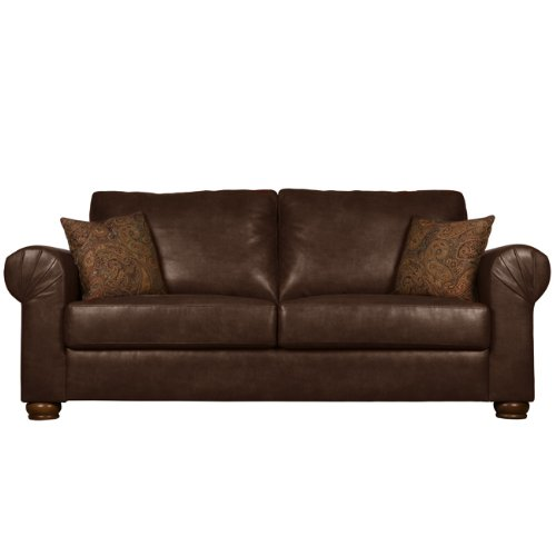 Hot Sale Handy Living OXF1-S6-DAB88 Oxford Transitional Rolled Arm Renu Leather Sofa, Brown With 2 Decorative Paisley Throw Pillows