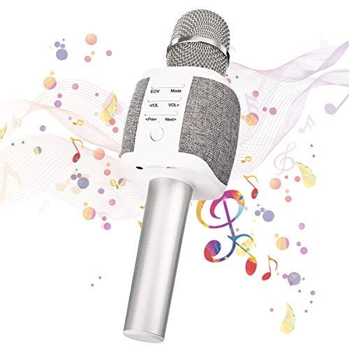 マイクカラオケ、ワイヤレスポータブルマイクスピーカーブルートゥース4.2 iPhone/Android/iPad / PC用のデュアルスピーカー付き高音質3-in-1マイクロフォン