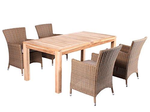 Trendy-Home24 5tlg. Essgruppe Sitzgruppe 180 x 90 cm Teakholz hochwertiges Polyrattan Sessel Sitzgruppe Teaktisch Gartenmöbel beige
