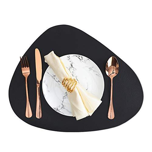RAILONCH 6er Set Tischsets Abwaschbar, PU Leder Platzsets Lederoptik Wasserdicht 44x36cm Platzdecken für Hause Küche Restaurant (Schwarz,6 Stück)