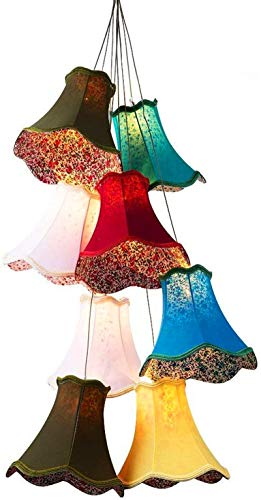 LED Modern Ceiling Light Fixture, Modern Fashion Large Colourful Palace Pendant Handmade Fabric Lampshades Clusters Led Chandeliers Lamps G4 Lights 8 Heads DIY For Girls Room,Bedroom Ceiling Lighting