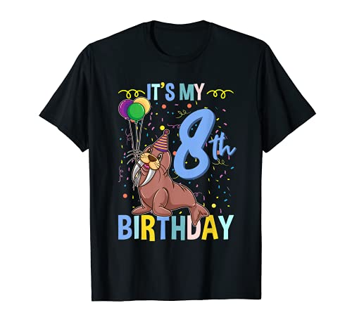 Its My 8th Birthday Walrus Ocean Animal T-Shirt
