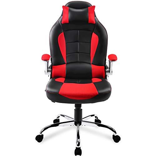 Likmic Gaming-Stuhl mit verstellbarer Lendenwirbelstütze, Kunstleder, hohe Rückenlehne, verstellbare Lendenwirbelstütze