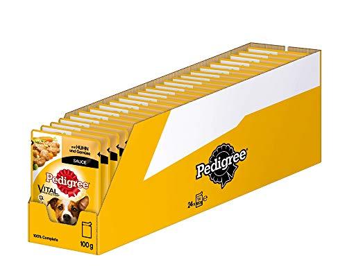 Pedigree Vital Protection Hundenassfutter im Beutel – Hundefutter in Sauce mit Huhn & Gemüse in Sauce – 24 x 100g Großpackung