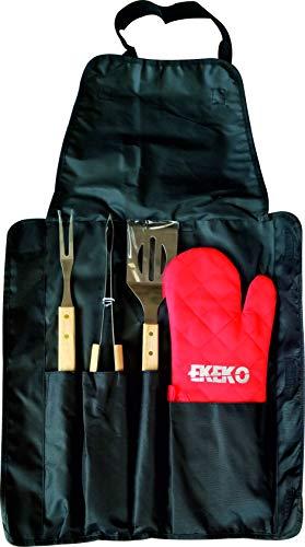 Pack Delantal e Instrumentos BBQ ON Fire, EKEKO, Set de Delantal, 3 Utensilios de Acero Inoxidable y manopla en Practica Bolsa con Cinta Bandolera para Transporte y almacenaje