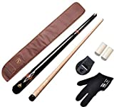 Club 21 147 Combo American Pool cue Metal Joint 12 mm,Black cue Cover,glovr,Chalk