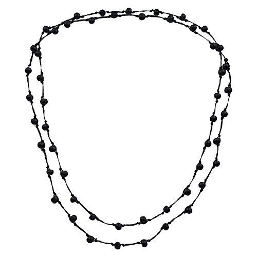 CHICNET CHICNET® Holzkette, Schwarz, aus Sono Holz und Baumwolle, mit Perlen, 120cm lang