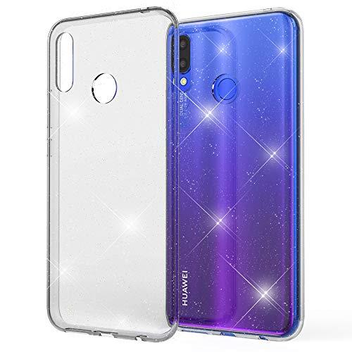 NALIA Glitter Hülle kompatibel mit Huawei P smart+ (2018) Hülle, Bling Silikon Handyhülle Strass Cover Durchsichtig, Dünne Handy-Tasche Schutzhülle Phone Etui Diamond Bumper Skin, Farbe:Transparent