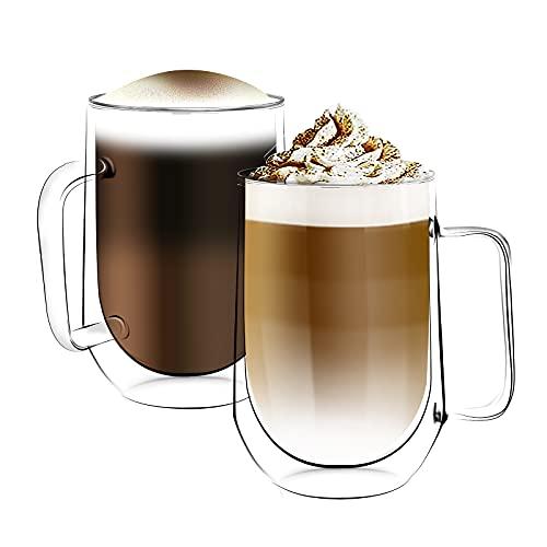 [6-Pack,350ml/12oz] Design•Master Hochwertiges doppelwandiges Isolierglas mit Henkel, Kaffee- oder Teeglasbecher, thermoisoliertes Glas, perfekt für Latte, Cappuccino, Americano, Tee und Getränke.