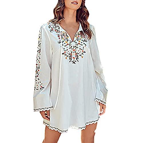 Dress for Women Boho Floral Print Long Sleeve V-Neck Drawstring Mini Dresses Casual Loose Fashion Short Skirts