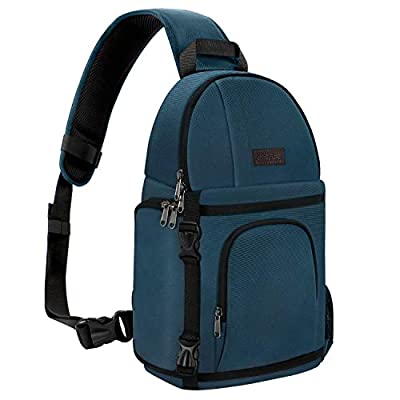 MOSISO Camera Sling Bag, DSLR/SLR/Mirrorless Case Water Repellent Shockproof Photography Camera Backpack with Tripod Holder & Removable Modular Inserts Compatible with Canon/Nikon/Sony/Fuji, Deep Teal
