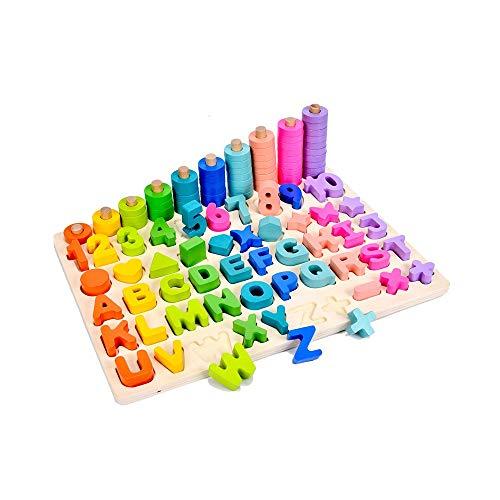 Alapet Rainbow Digital Shape Matching Board 2-3-6 Jahre alt Digitale Bausteine Puzzle Flitter Junge Mädchen Früherziehung Aufklärung Holzspielzeug (Color : Four in one)