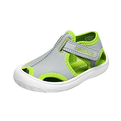DREAM PAIRS Boys Sea-k Closed Toe Summer Sandals Water Shoes Light Grey Neon Green Size 12 Little Kid