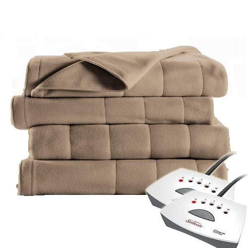 Sunbeam Soft Quilted Fleece Electric Heated Warming Blanket Queen Mushroom Washable Auto Shut Off 5 Heat Settings