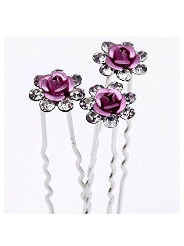 S&E Donna 10PCS da sposa Rosa perni a cristallo di capelli del fiore clip di capelli di cristallo strass bastone