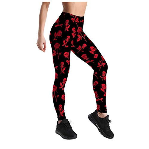 Womens Bodybuilding Active Pants Stylish Tight Stretch Soft Yoga Sport Trousers(Red,L)