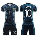 Camiseta de fútbol para niños Set-10# Messi Uniforme de Entrenamiento Unisex Camiseta de Atleta Malla de Secado rápido Sudadera de Manga Corta para fanáticos-Royalblue-XXL