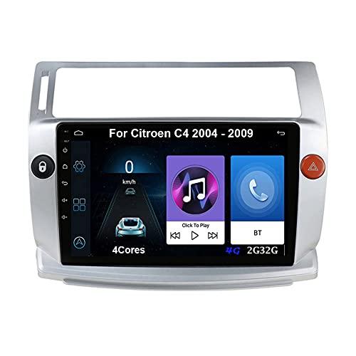 Android 10 Autoradio 9 Pulgadas Coche Radio De Coche Pantalla Tactil Para Citroen C4 2004-2009 Con Pantalla Coche Conecta Y Reproduce Bluetooth Video SWC Cámara Trasera (Color : 4Cores 4G 2G32G)
