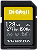 Scheda di memoria professionale SD Memory SDXC Card 128 GB UHS-II Memory SD Card,V60, C10, U3, compatibile con videocamere e Video Cameras (128 GB)