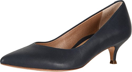 Vionic Women s Kit Josie Kitten Heels - Ladies Pumps with Concealed Orthotic Arch Support Navy Leather 8 Wide US