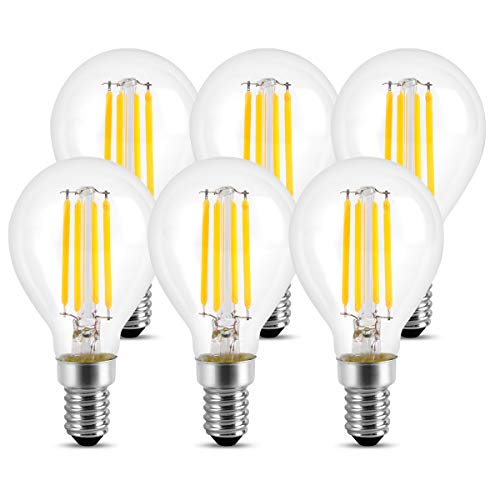 Wedna G45 E14 LED Lampe, 4W (ersetzt 40W), Filament Mini Globe Leuchtmittel, Warmweiß 2700K 420LM, Rustikalampe Filamentstil klar, Nicht Dimmbar 6er Pack