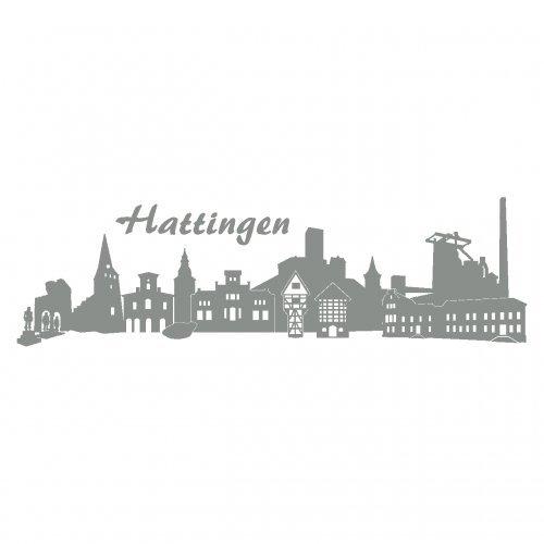 Skyline4u Wandtattoo Hattingen mit Sehenswürdigkeiten in 7 Größen und 19 Farben (60x18cm Mittelgrau)