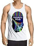 A.N.T. Rainbow Road Camiseta para Hombre T-Shirt Double Dash Kart Tour GP Mario, Talla:M, Color:Blanco