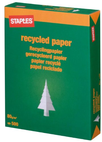 Staples Recycling Papier 100% weiß A4 80g 500 Blatt