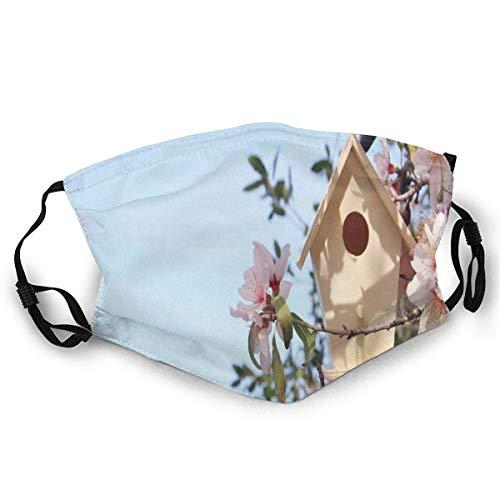 Gezicht Cover Kleine Vogelhuisje Op Kersenbloesem Boomtak Lente Sakura Bloeiende Patroon Mond Cover Camping Kleurrijke Gezicht Sjaal afdrukken Unisex Outdoor Fietsen Tra