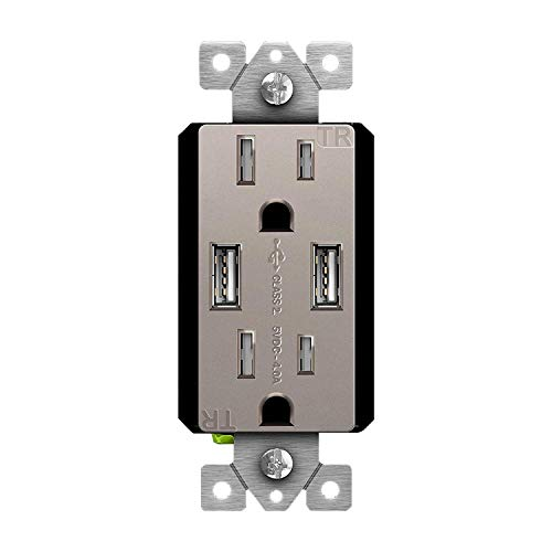 TOPGREENER High Speed USB Wall Outlet, 15A Tamper-Resistant Receptacles, Compatible with iPhone, Samsung Galaxy, LG, HTC & other Smartphones, UL Listed, TU2154A-NK, Nickel, Wall plate sold separately