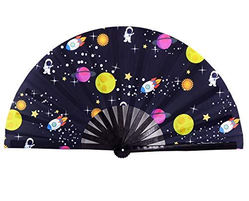 Amajiji Rave Festival Accessories Large Folding Hand Fan for Women Men, Chinease/Japanese Handheld Fan Bamboo Fan Dance Fan Gift Fan Craft Fan (Astronauts and Planets)