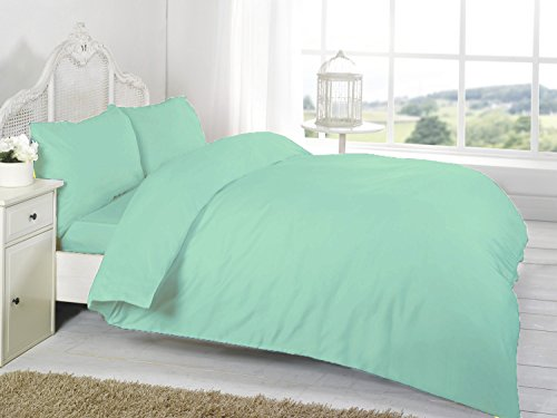Homefurnishing Non Iron Polycotton Percale 180 Thread Count Duvet Cover Set (Cream, Super King)
