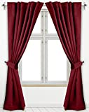 Utopia Bedding 2 Panels Rod Pocket Blackout Curtains with 2 Tie Backs W52 x L84 Inches, Thermal Insulated Window Draperies - 7 Back Loops per Panel, Burgundy
