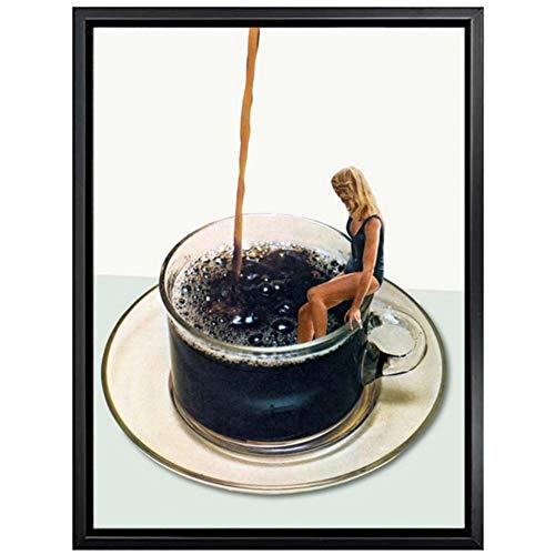 sjkkad abstracte vrouw poster zwart koffie poster en prints modern canvas schilderij muurkunst schilderijen voor woonkamer decoratie 50x70 cm geen lijst