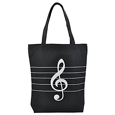 KingPoint Music High Note Treble Clef Pattern Canvas Handbag Shopper Grocery Bags Kids Students Reusable Tote Carrying Books Snacks Food Lunch Dinner Box