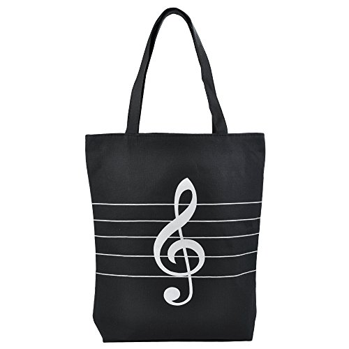 PUNK Music High Note Treble Clef Pattern Cotton Handbag Shopper Grocery Bags Kids Students Reusable Tote Carrying Books Snacks Food Lunch Dinner Box 40.5x36.5x9cm (Black)
