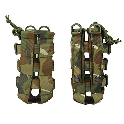 Kasla Bolsa MOLLE Militar para Botella de Agua, Bolsa de Transporte de Caldera táctica Ligera Ajustable - Multicolores (Camuflaje A)