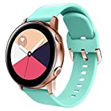 Compatible for Galaxy Watch Active Watch Bands/Galaxy Watch Active2 40mm/44mm,20mm Replacement Sport Wristband with Rose Gold Buckle for Galaxy Watch 42mm/Gear Sport/Gear S2 Classic for Women Men-Teal