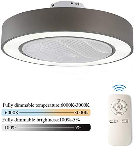 LED Plafondventilator Met Verlichting En Afstandsbediening Stille Fan Plafondlamp Dimbaar Met Afstandsbediening 3 Standen Verstelbaar Moderne Slaapkamer Onzichtbare Kinderkamer Ventilator,Gray