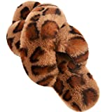 Women's Cross Band Slippers Leopard Soft Cozy Open Toe Slip On House Shoes Indoor Outdoor Breathable Spring Summer Leopard 7-8