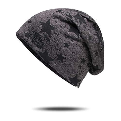 Lanly Beanie Slouch Mütze Kopfbekleidung Leicht Jersey Mütze Docker Cap Einstellbar Unisex Herren Damen Baumwolle (Dunkelgrau Stern)