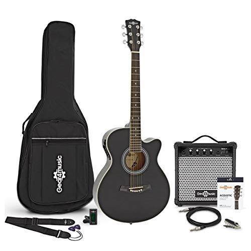 Single Cutaway-Elektro-Akustikgitarre Black und 15-Watt-Verstärker im Paket