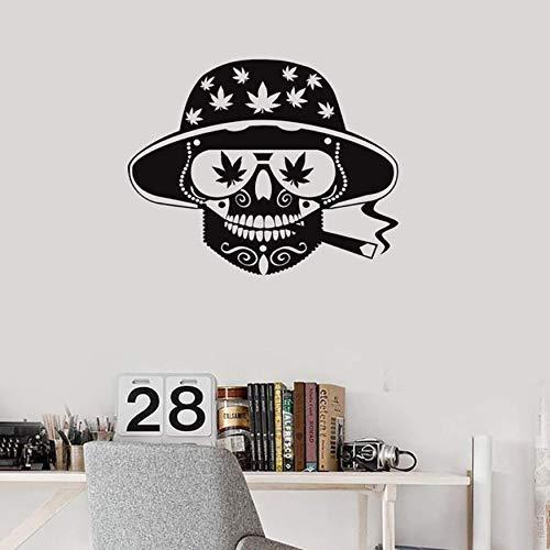 Roken Hippie schedel onkruid Vinyl muur stickers decoratieve patroon huisdecoratie kunst muurschildering behang 57x45cm