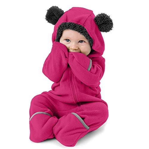 冬のコート、暖かい幼児の女の赤ちゃん男の子固体漫画の耳パーカーロンパース服ジャンプスーツ3ヶ月-24ヶ月