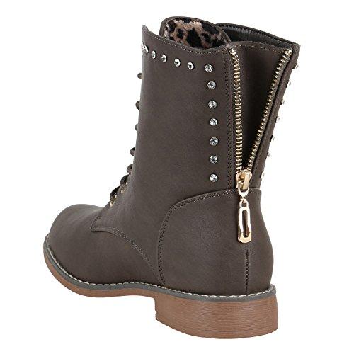 Damen Schnürstiefeletten Leder-Optik Profilsohle Stiefeletten Schuhe 149605 Taupe Strass Avion 38 Flandell